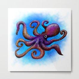 Octopus Doodle Metal Print