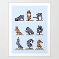 bull terrier Art Prints featuring Bull Terrier Yoga by Huebucket