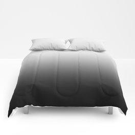 White to Black Horizontal Linear Gradient Comforters