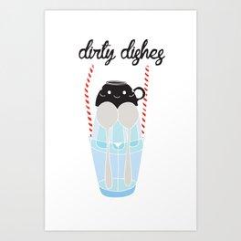 dirty dishes (girl) Art Print