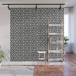 Black and White Greek Key Pattern Wall Mural