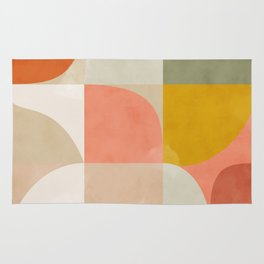 mid century pastel abstract geometric shapes painting Rug