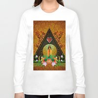 surfboard Long Sleeve T-shirts featuring Surfboard with flowers  by nicky2342