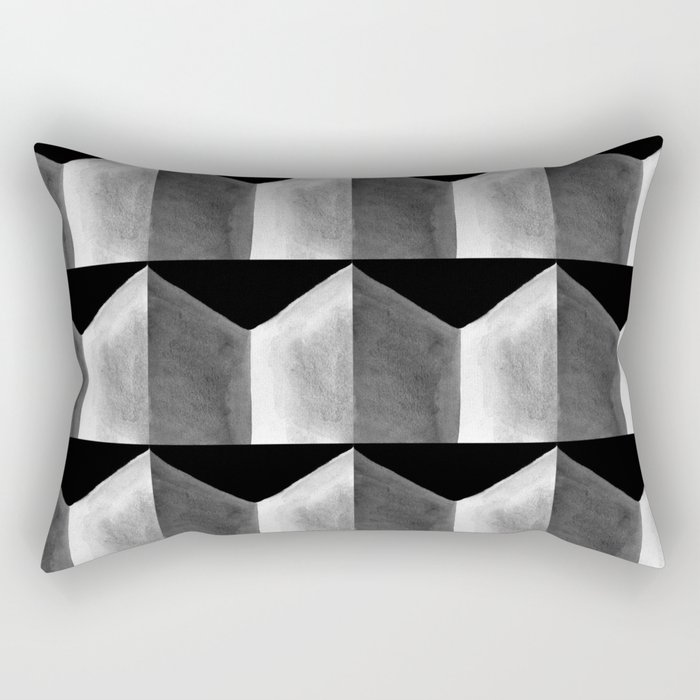 Black White and Grey Geometric Tile Pattern Rectangular Pillow