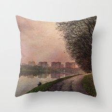 Fisherman (stylized watercolor) Throw Pillow