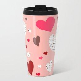 Flying Hearts pink burgundy Travel Mug