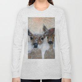 Deer in the Snowy Woods Long Sleeve T-shirt