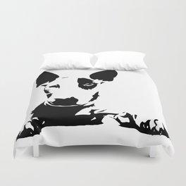 English Bull Terrier, dog breed art, black white, monochrome Duvet Cover