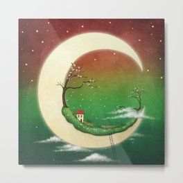 fantasy moon and house and cherry tree Metal Print