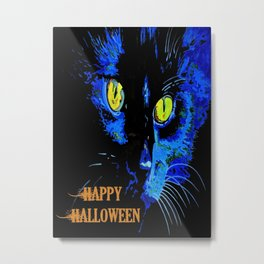 Black Cat Portrait with Happy Halloween Greeting  Metal Print