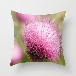 Purple Power Flower Throw Pillow