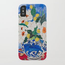 Queen of California - Giant Matilija Poppy Bouquet in Lion Vase on Blue iPhone Case