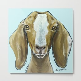Goat Art, Cute Farm Animal Painting Metal Print
