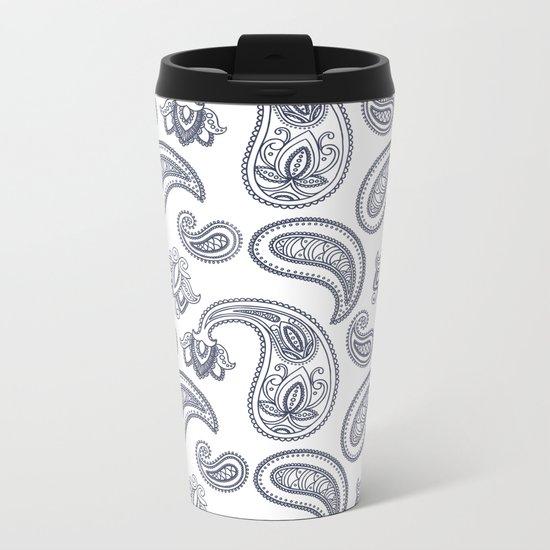 Blue Paisley Pattern Metal Travel Mug