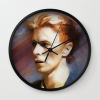 bowie Wall Clocks featuring Bowie by Cristina Sandia