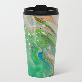 Green and Blue Marble Swirl Fluid Painting Pour Travel Mug