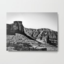 rock and road trip at Utah,USA in summer in black and white Metal Print