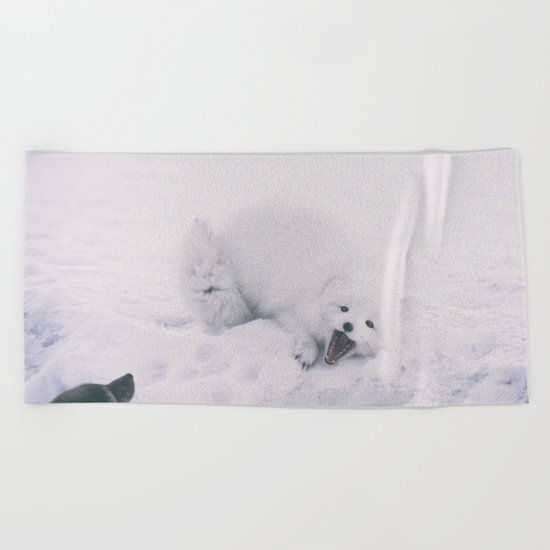 ARCTIC FOXES PLAYING Beach Towel