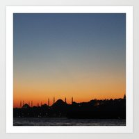 istanbul Art Prints featuring İstanbul by kartalpaf