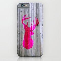 Bright Pink Hipster Vintage Deer Head Gray wood iPhone 6s Slim Case