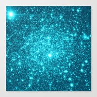 turquoise Canvas Prints featuring Turquoise Teal Sparkle Stars by Whimsy Romance & Fun