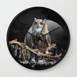An Owl In The City Wall Clock