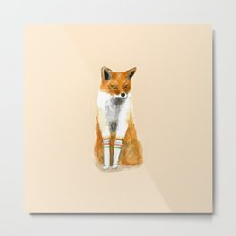Fox with Socks Metal Print