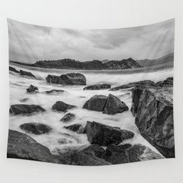 Rocky Ocean Black And White Wall Tapestry