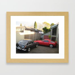 Porsche 928 and MGB GT V8 spotted in Auckland, New Zealand Framed Art Print