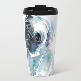 Pug Puppy in Splashy Watercolor Travel Mug