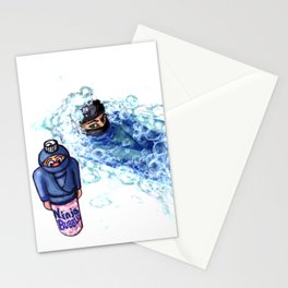 Ninja Stealthily Disappears into Bubble Bath Stationery Cards