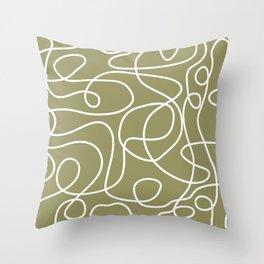Doodle Line Art | White Lines on Khaki/Olive Green Throw Pillow