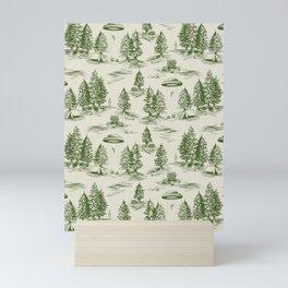 Green Alien Abduction Toile De Jouy Pattern Mini Art Print