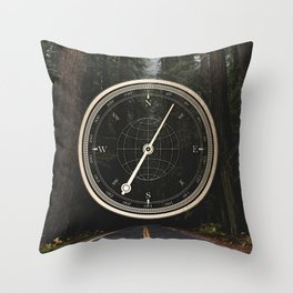 Gold Compass - The Road to Wisdom Throw Pillow