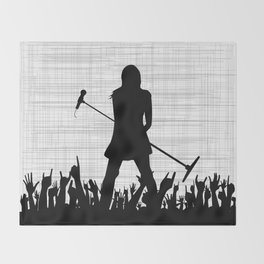 Girl With Microphone Throw Blanket