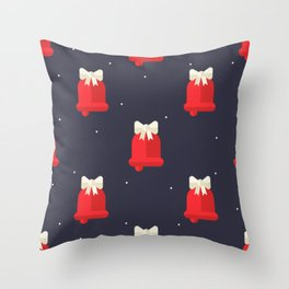 Red Christmas Bell Pattern Throw Pillow