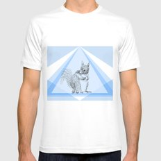 Squirrel stealing nuts MEDIUM Mens Fitted Tee White
