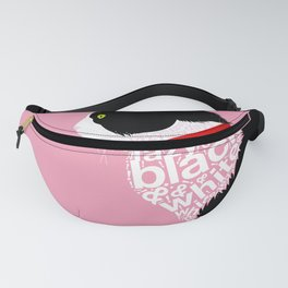 Typographic black and white lazy kitty cat on pink  #typography #catlover Fanny Pack