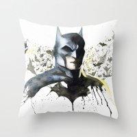 superhero Throw Pillows featuring Superhero by Sagas Ateljé