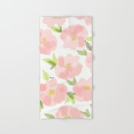 Floral watercolor pattern - pink roses Hand & Bath Towel