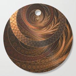 Earthen Brown Circular Fractal on a Woven Wicker Samurai Cutting Board