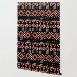 Mudcloth Style 2 in Black and Red Wallpaper