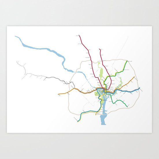 Washington Metro To Scale Art Print