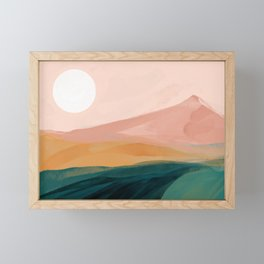 pink, green, gold moon watercolor mountains Framed Mini Art Print