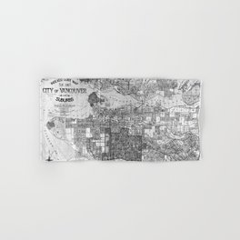 Vintage Map of Vancouver Canada (1920) BW Hand & Bath Towel