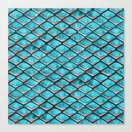 Teal blue and coral pink arapaima mermaid scales Canvas Print