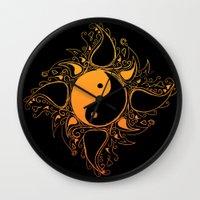 yin yang Wall Clocks featuring Yin & Yang by #dancingpenguin