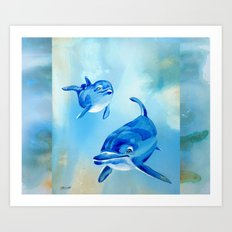 Floating Free - Dolphins Art Print