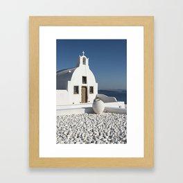 White Church, Oia, Santorini Framed Art Print