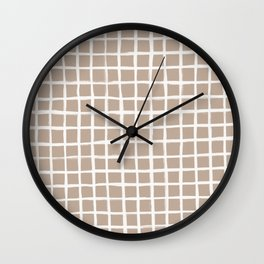 Strokes Grid - Off White on Nude Wall Clock